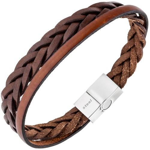 Herren Armband 2-reihig Leder braun - 1