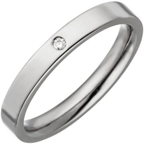 Partner Ring schmal aus Titan 1 Diamant - 1