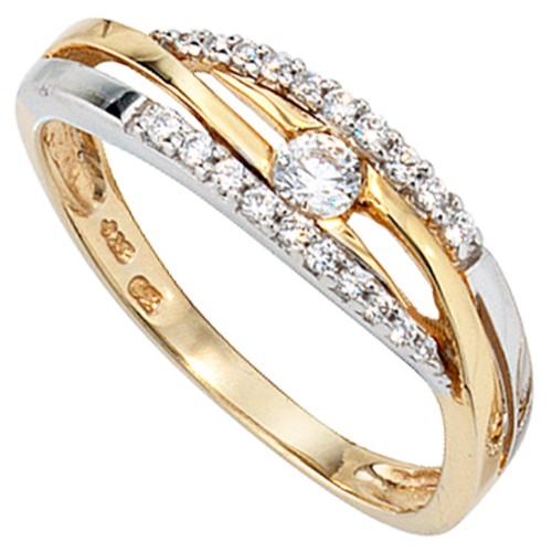 Damen Ring 333 Gold Gelbgold Weißgold - 1