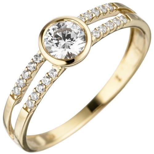 Damen Ring 333 Gold Gelbgold 21 Zirkonia - 1