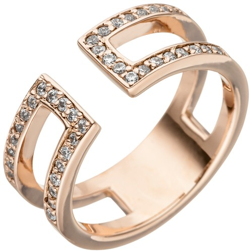 Damen Ring 2-reihig offen 925 Sterling - 1